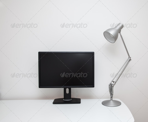 White desk screen and lamp