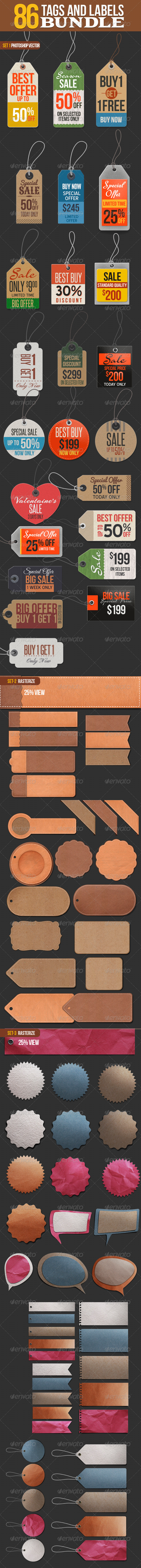 GraphicRiver 86 Tags and Labels Bundle 6644063