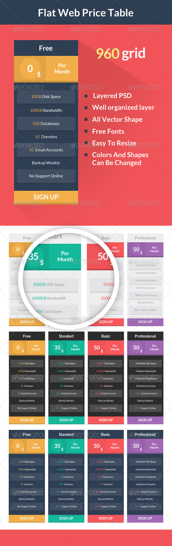 GraphicRiver Flat Web Price Table 6645191