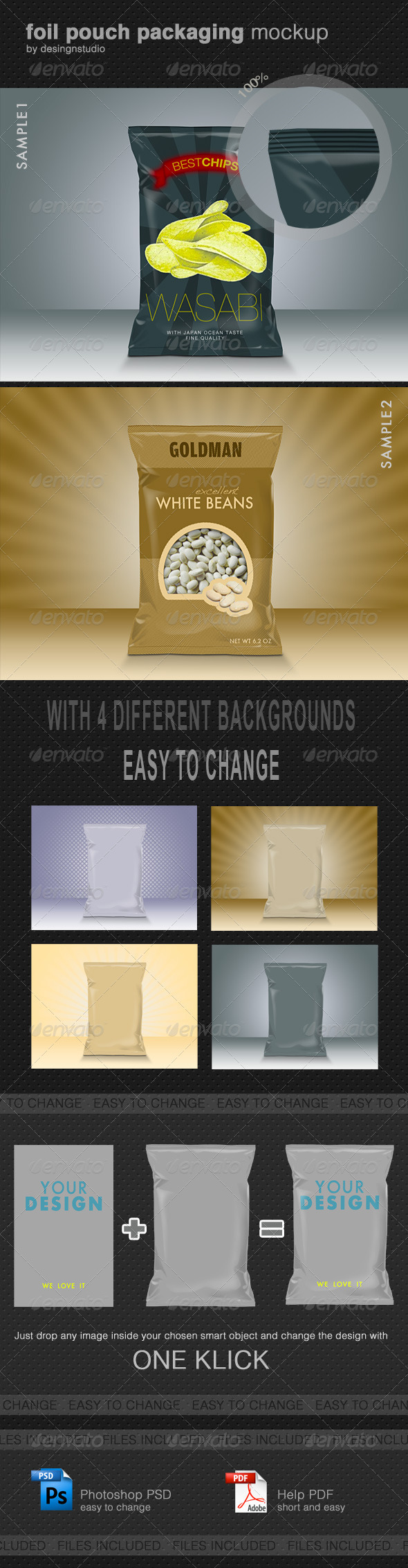 GraphicRiver Foil Pouch Packaging Mock-Up 697176