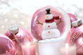 Snow globe with pink  balls - PhotoDune Item for Sale