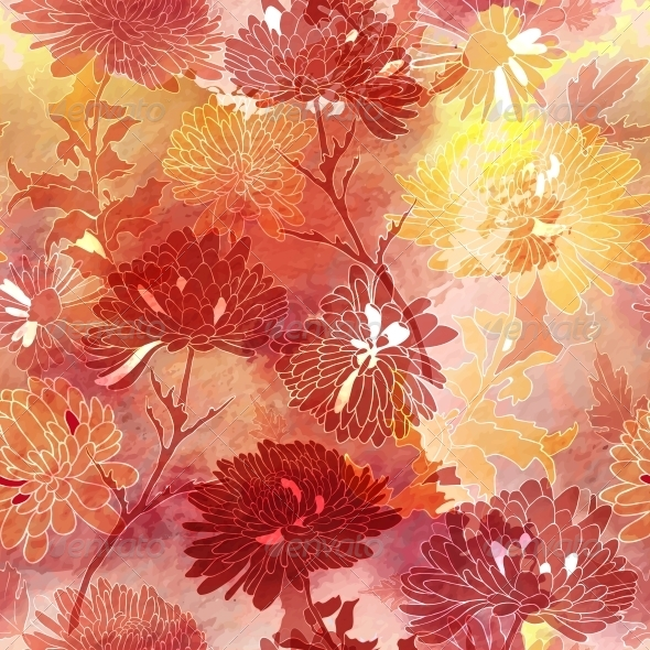 GraphicRiver Floral Seamless Background with Chrysanthemum 6654746