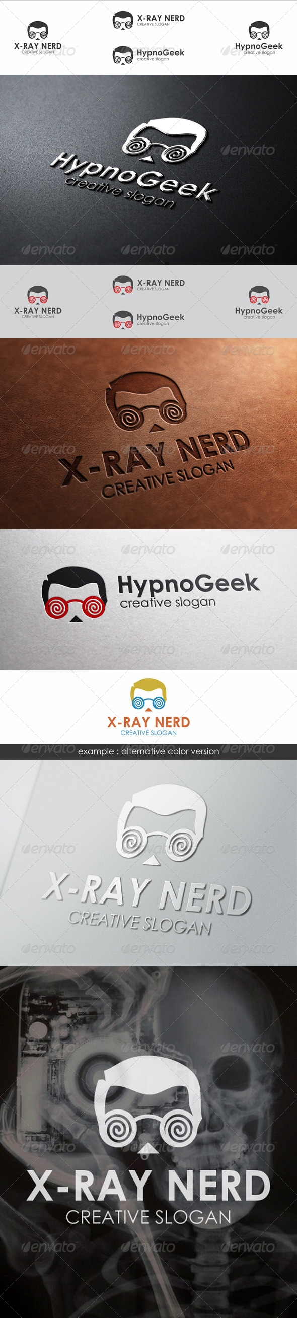GraphicRiver Hypnotic Geek Head Logo Template 6654904