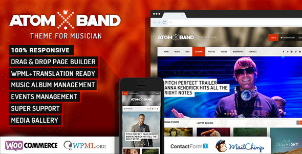 AtomBand-Responsive Dj Events & Music Theme - Music and Bands Entertainment