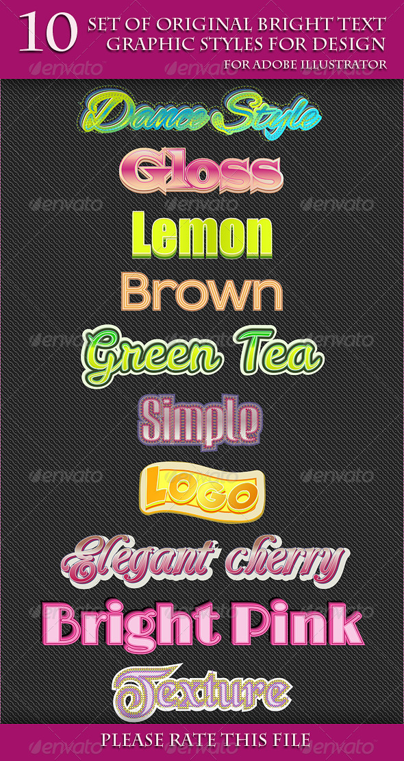 GraphicRiver Set of Original Bright Text Graphic Styles 6655723