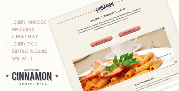 Cinnamon Landing Page - Restaurants & Cafes Entertainment