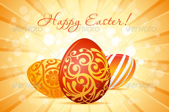 Easter Background with Decorated Eggs - Seasons/Holidays Conceptual