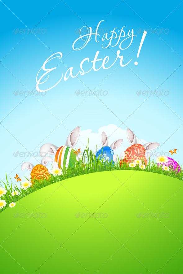GraphicRiver Green Landscape Background with Easter Eggs 6656106