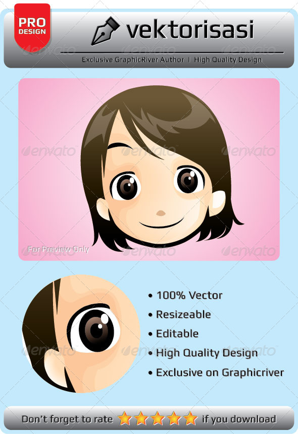 GraphicRiver Little Girl Face Vector 6648668