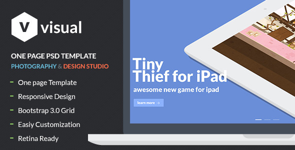 Visual - Multipurpose Flat Onepage PSD Design - PSD Templates
