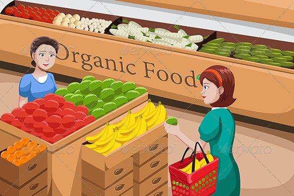 GraphicRiver People Shopping for Organic Food 6657874