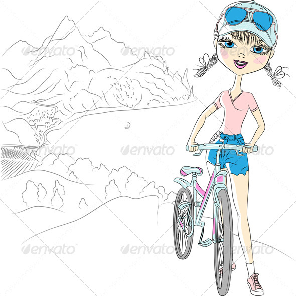 GraphicRiver Girl with Bicycle 6658041