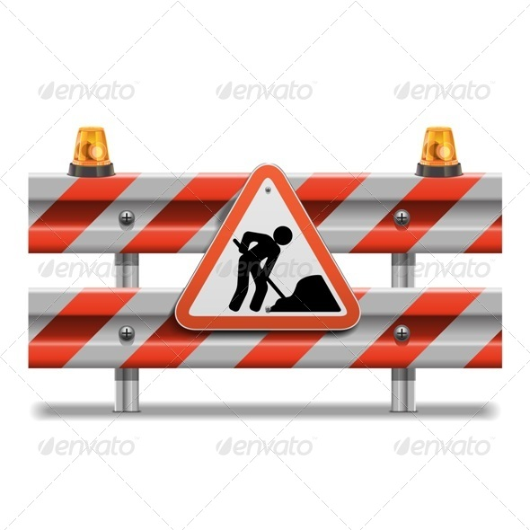 GraphicRiver Vector Barrier with Sign and Beacon 6658156