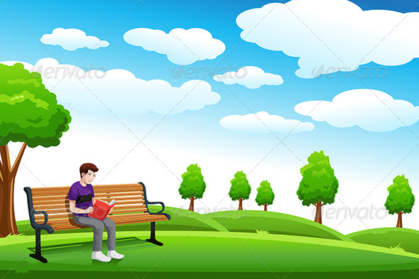 GraphicRiver Man Reading a Book on the Bench 6658198