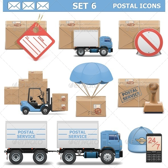 GraphicRiver Vector Postal Icons Set 6 6658298