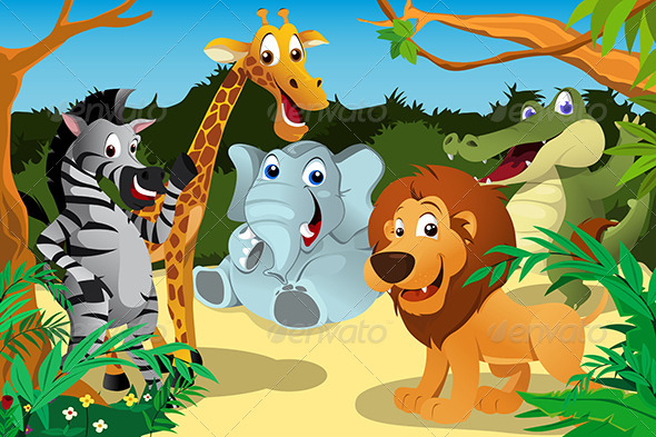 GraphicRiver African Animals in the Jungle 6658305