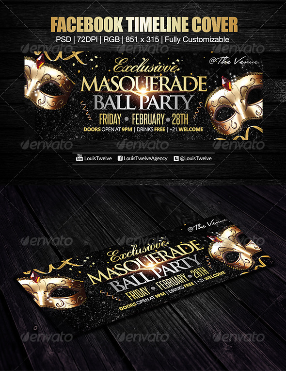 GraphicRiver Exclusive Masquerade Ball Facebook Cover 6658468