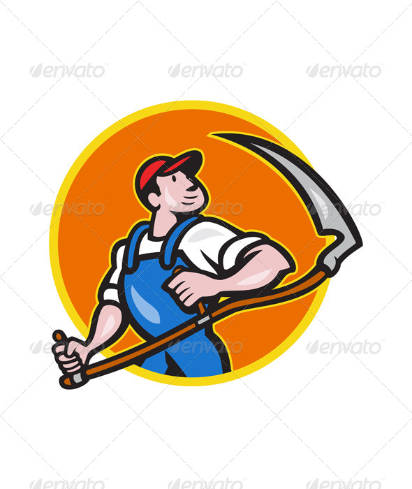 GraphicRiver Farmer Worker Holding Scythe Circle Cartoon 6658730