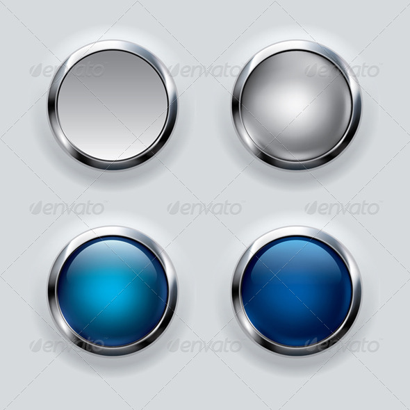 GraphicRiver Silver Button Set on Gray Background 6659949