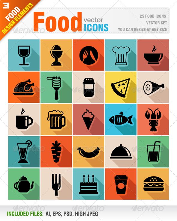 GraphicRiver Food icons 6656825