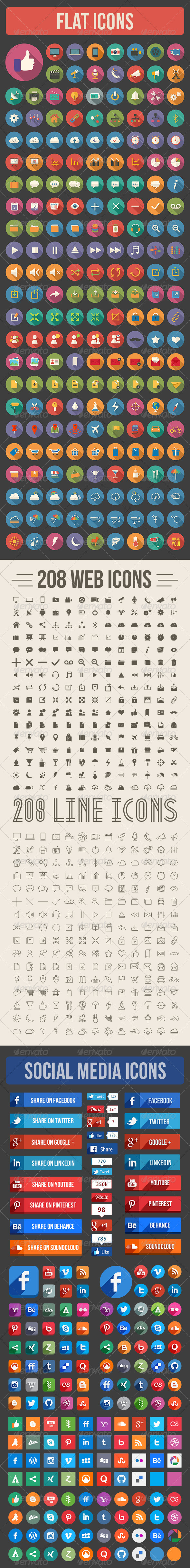GraphicRiver 800 Flat Icons 6660683