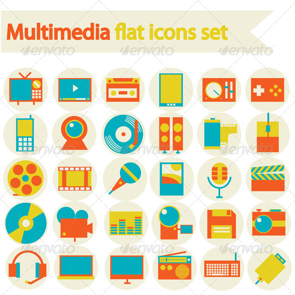 GraphicRiver Multimedia Flat Icons Set 6660689