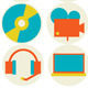 Multimedia Flat Icons Set - GraphicRiver Item for Sale