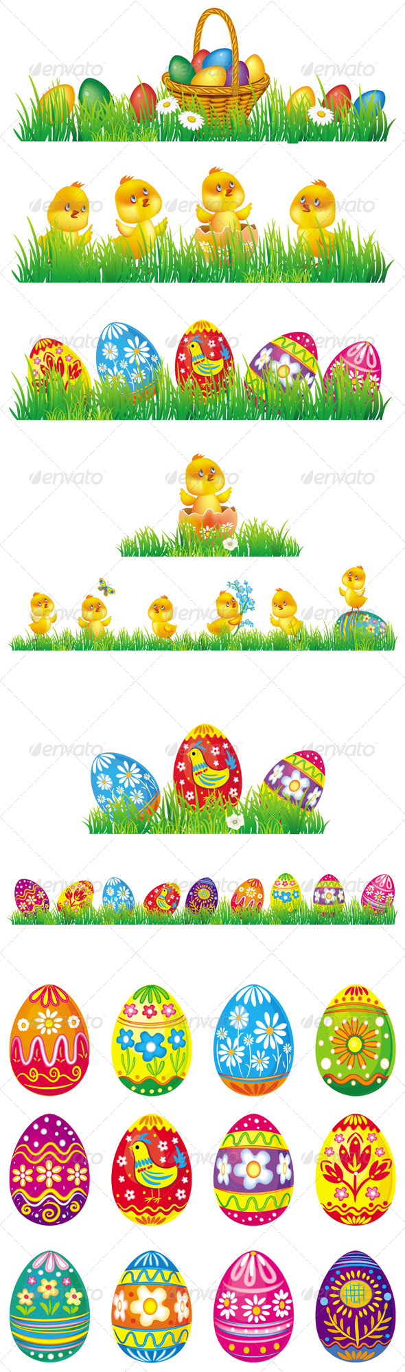GraphicRiver Easter Eggs and Chicken in Grass 6660755