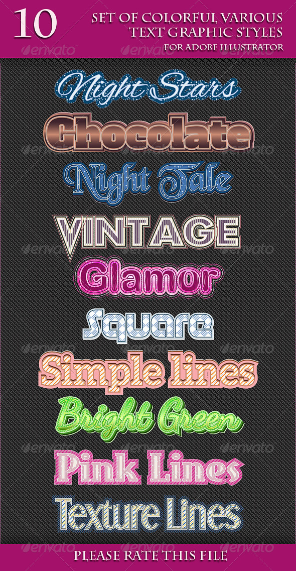 GraphicRiver Set of Colorful Various Text Graphic Styles 6662042
