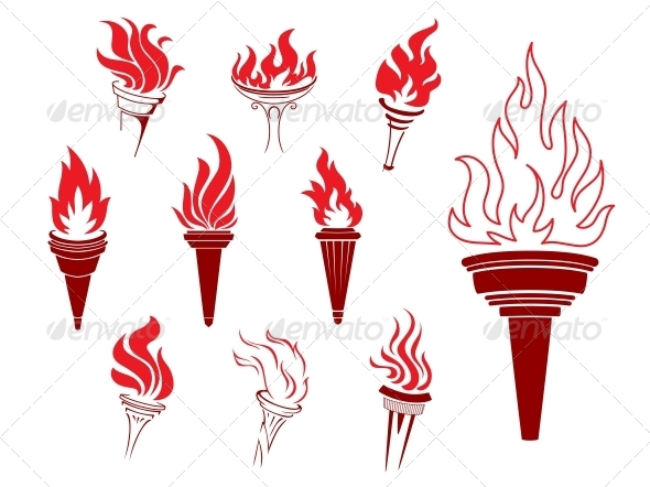 GraphicRiver Collection of Burning Torches 6662167