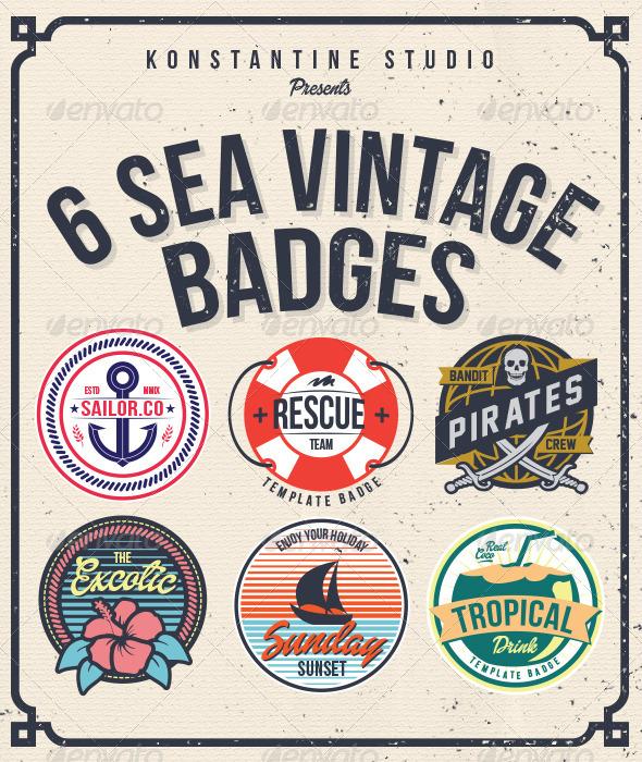 GraphicRiver 6 Sea Vintage Badges 6654269