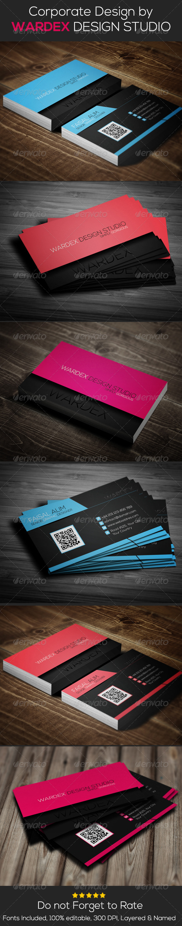 GraphicRiver Corporate Business Card Design- 3 Different Color 6662519
