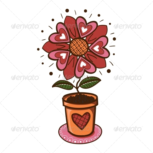 GraphicRiver Flower with Hearts in a Pot 6662550
