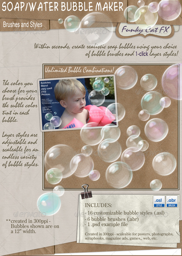 GraphicRiver Soap Water Bubble Maker brush & style 6619206