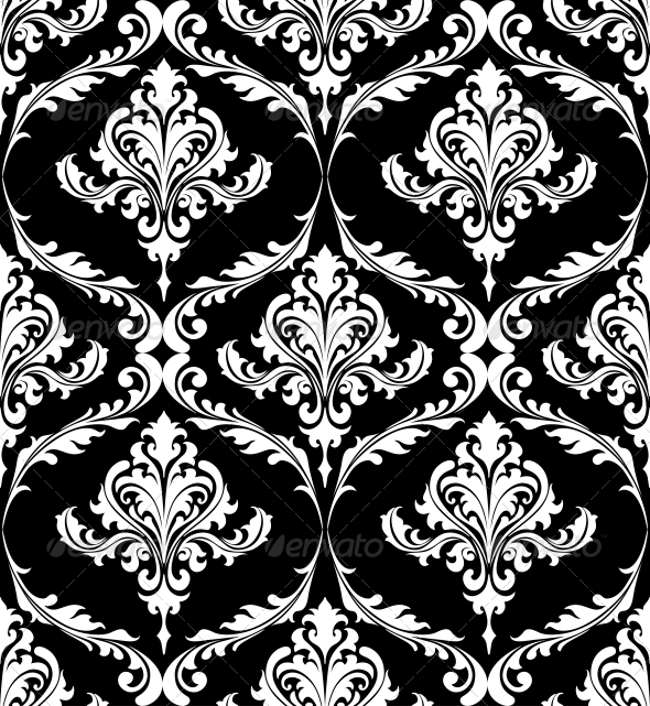 Black and white vintage damask pattern graphicriver for Papel pintado blanco y negro