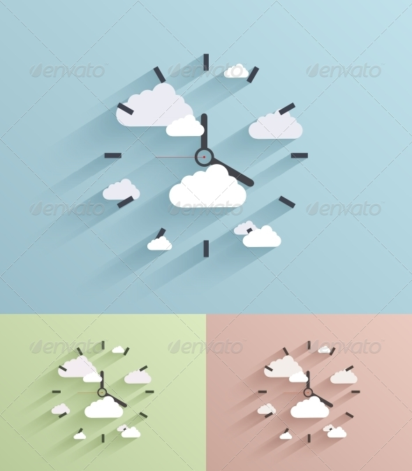 GraphicRiver Flat Clock Background 6663434