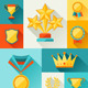 Trophy and Awards in Flat Design Style. - GraphicRiver Item for Sale