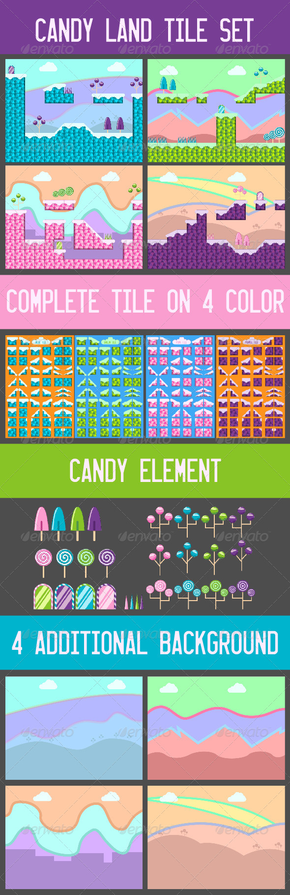 GraphicRiver Candy Land Tile Game Set 6657983