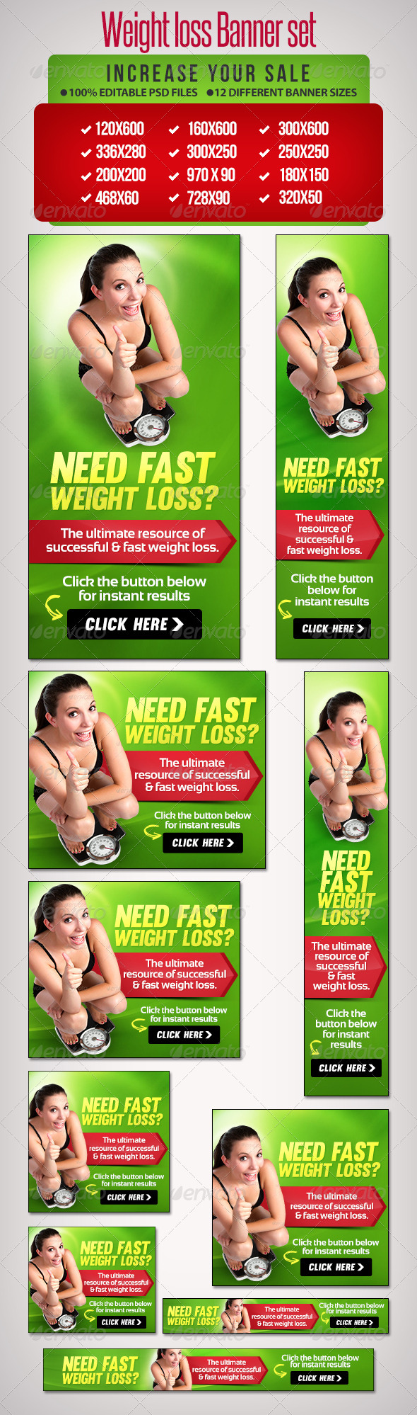 GraphicRiver Weight Loss Banner Set 8 6665548