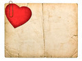 old paperboard card with red paper heart - PhotoDune Item for Sale