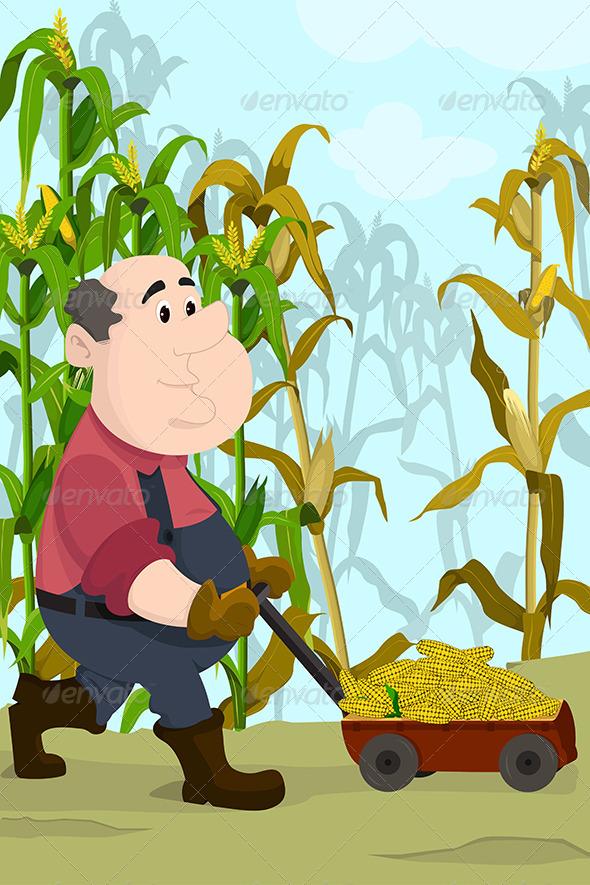 GraphicRiver Farmer Harvesting Corns 6665960