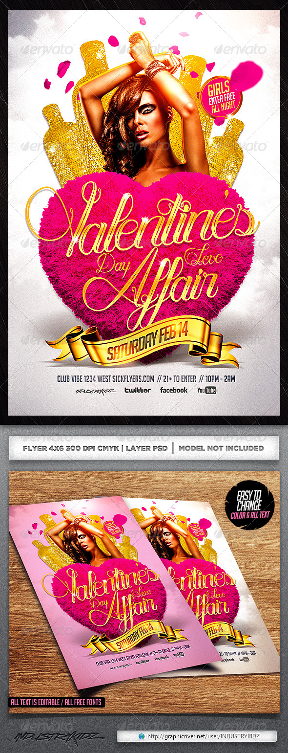 GraphicRiver Valentine s Day Affair Flyer Template PSD 6666775