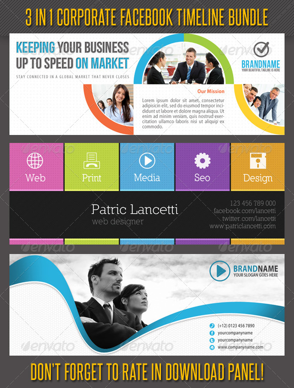 GraphicRiver 3 in 1 Corporate Facebook Timeline Bundle 02 6667665