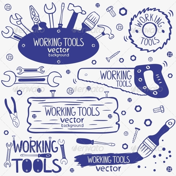GraphicRiver Working Tools Set 6668027