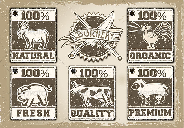 GraphicRiver Vintage Butcher Shop Label 6670355