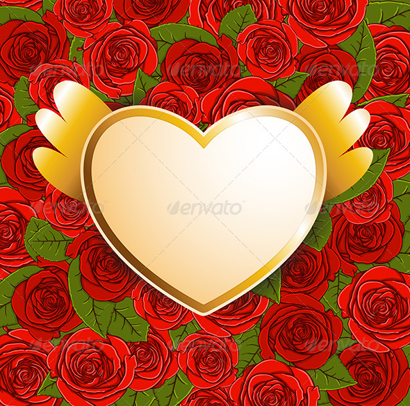 GraphicRiver Background with Red Roses and Heart 6671446