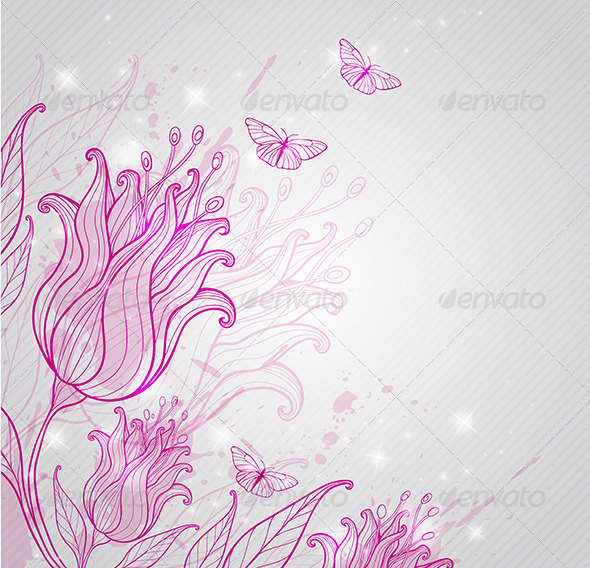 GraphicRiver Pink Tulips and Butterflies 6671459