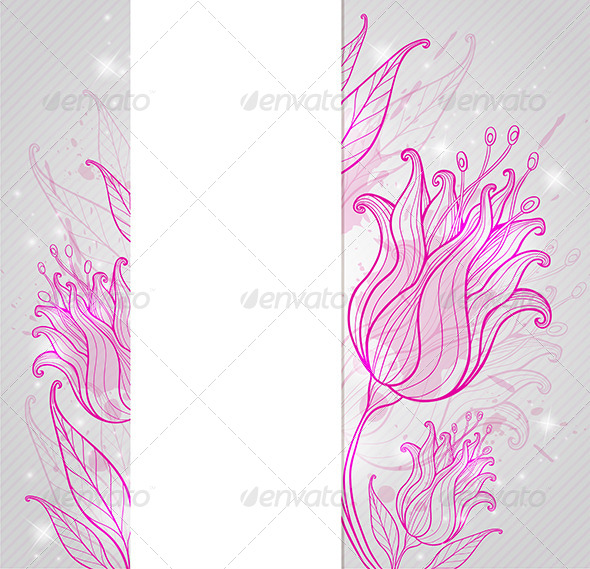 GraphicRiver Background with Pink Hand Drawn Tulips 6671550