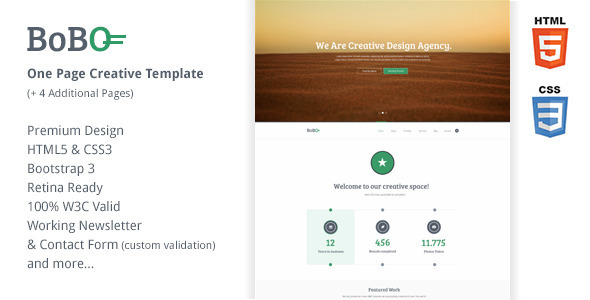 ThemeForest Bobo One Page Retina Ready Creative Template 6671573