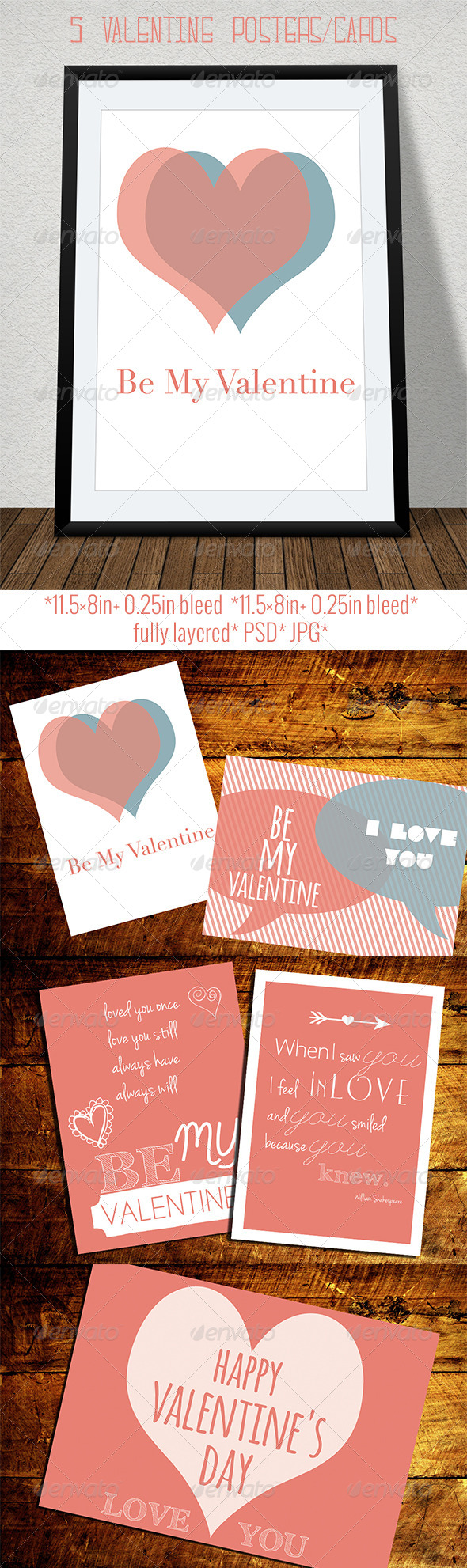 GraphicRiver Set of Retro Valentine s Day Cards and Posters 6611191